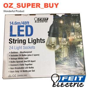 Feit 14.6m/48ft 24 LED Bulb+2 Spare Outdoor Or Indoor Filament String Lights Set