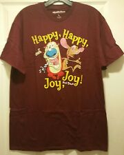 New Nickelodeon Ren and Stimpy Show Happy Joy Adult Large T-shirt Funny Cartoon