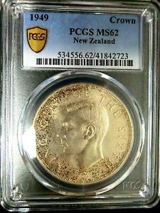 PCGS MS62 Gold Shield-New Zealand 1949 George VI Silver One Crown BU Scarce