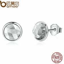 Bamoer jewelry S925 Sterling Silver Stud Earrings White Glass Water droplets