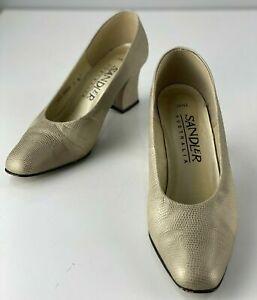 Sandler 'Jane' Mid Height Block Heel Court Shoes - Size 7B - Gold
