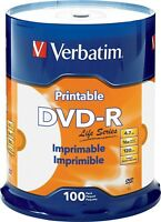 100 VERBATIM Life Series DVD-R 16X 4.7GB White Inkjet Printable Spindle 98491
