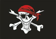 Flag 3X5 Happy Boating Boat Red bandanna happy Skull Pirate Cool