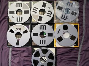 """LOT of 7 MIXED BRAND METAL REELS + RECORDING TAPE 1/4"""" 10.5"""" 10 1/2 IN BOXES"""