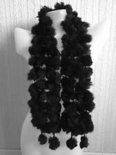 jet black real genuine rabbit fur pom pom bubble scarf neck warmer
