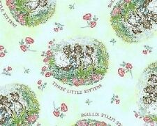 Fat Quarter Beatrix Potter Three Little Kittens Mint Green 100% Cotton Fabric