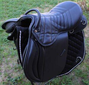 English Professional Equine Horse Black Leather Saddle 80205