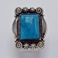 Beautiful Navajo Handmade Kingman Turquoise Ring Set In Sterling Size 7.25