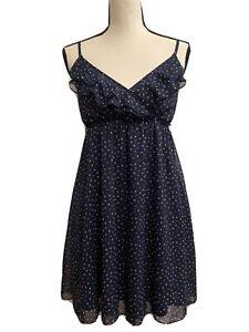 PAPAYA Navy Blue White Polka Dot Sleeveless Dress Vneck Juniors Medium M Stretch