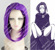 cosplay wig short Purple 35cm Raven From Teen Titans Anime wigs bobo wig