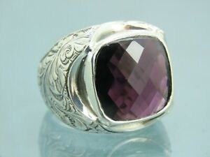 Turkish Handmade Jewelry 925 Sterling Silver Amethyst Stone Men Ring Sz 10