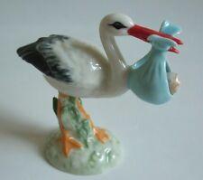 * High Quality Handmade Bird Miniature Ceramic Stork with Baby Boy Figurine *
