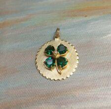 14k Yellow Gold Multi Emerald and Pearl Circle Pendant , 5 Grams