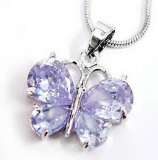 Purple Cubic Zirconia White Gold Plated Butterfly Pendant Chain Necklace