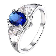 Crystal Rhinestone Zircon Blue Sapphire Royal Princess wedding Engagement Ring
