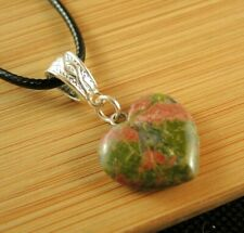Fashion Necklace Pendant #2183 Unakite Gemstone Heart Bohemian