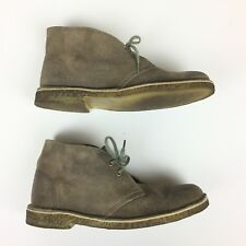 Clarks Original Desert Chukka Boots Sz 9 Distressed Taupe Suede Leather Mens