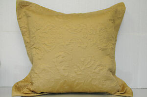 "NEW SFERRA Harrison Yellow Gold Cotton Sateen Decorative Pillow Italy 20"" x 20"""