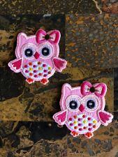 "2 Pink Baby Owl Woodland Iron On Sew On Patch 2.5""L x 2.75"" W Same Day Ship Kids"