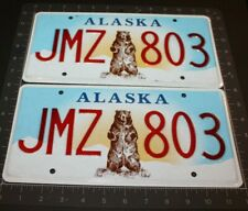 2014 2 ALASKA LICENSE PLATE JMZ 803 BEAR PLATES