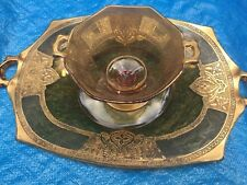 Gorgeous Amber Depression Glass with Elaborate Gold Overlay - Birds & Deer - Tra