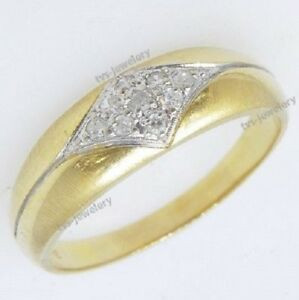14K YELLOW GOLD FN 0.50 CT ROUND CUT DIAMOND MENS WEDDING RING ENGAGEMENT BAND