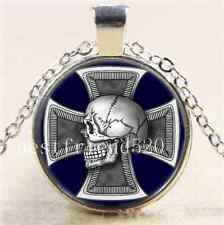 Skull Iron-Cross Cabochon Glass Tibet Silver Chain Pendant Necklace