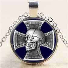 Skull Iron-Cross Cabochon Glass Tibet Silver Chain Pendant Necklace