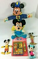 Lot of 6 Mickey and Minnie Plush and Rubber Figures Vintage Walt Disney