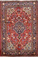 Traditional Hand-Knotted Floral Bidjar Area Rug RED/NAVY Oriental Carpet 4'x5'
