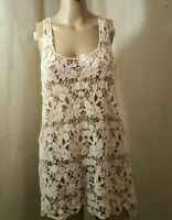 Ultra Pink Junior's Women's Cami Tank Racer Back Large Off White