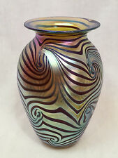 "Robert Eickholt Studio Art Iridescent Glass Vase Signed, 2000 6.5"" Tall"