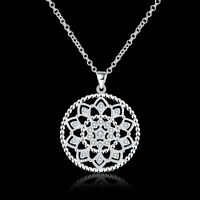 925 Sterling Silver Filled Zircon Filigree Flower Pendant Necklace Chain Antique