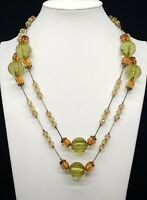 Vintage 70's Colors/ Faceted Transparent Lucite  Beads/Gold Tone Chain Necklace