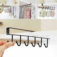 New Black 6 Hooks Cup Holder Hang Kitchen Cabinet Shelf Storage Rack Organizer