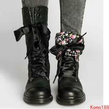Womens Vintage Military Combat lace up knight Mid calf Boots Outdoor Shoes #9_7