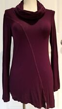 MICHAEL STARS Burgundy Long Sleeve Cowl Neck Shirt Asymmetrical Hemline USA Made