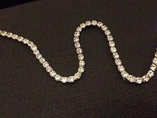 Strass Catena stretta Crystal Glass Gem SILVER CUP Trim NASTRO Sparkle Diamante