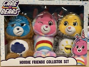 Brand New CARE BEARS HOODIE FRIENDS COLLECTOR SET UNICORN, KITTY, PUPPY