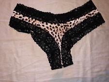 Victoria's Secret Lace Trim Cheeky Panty Size S Animal