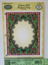 JustRite Stamp CHRISTMAS HOLLY Cling Background Stamp Fancy Holiday Frame