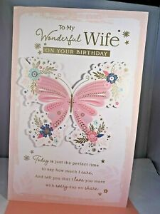 Large Happy Birthday To My Wife - 8 Page Insert Celebration Gold Foil