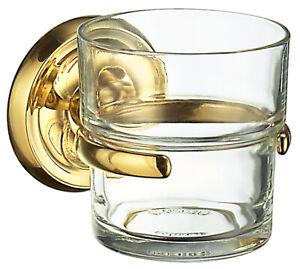 Smedbo VILLA Holder With Toothbrush Glasswiht klarem Glas Brass Polished V243