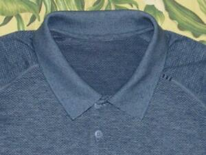 Mens LULULEMON Blue Short Sleeve Polo Tech Shirt XL