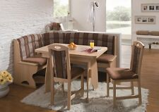 New LUZERN Eckbank Kitchen Dining Corner Seating Bench Table + 2 Chairs