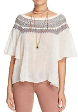 Free People OB520519 Lock Lomand Off-The -Shoulder Sweater Ivory Combo L $118