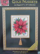 "DIMENSIONS Gold Nuggets 8"" x 10"" Collection ""POINSETTIA ELEGANCE"" CCStitch NIP"