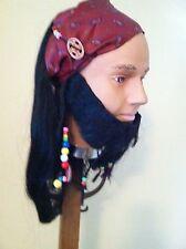 Pirate Wig Bandana & Beaded Goatee Lacey Costume Accessory New
