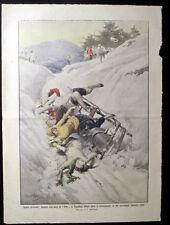 SPORT INVERNALI,MONTAGNA,BOB,SLITTE,CADUTA,NEVE,MONTAGNA,GARA,STAMPA ANTICA,1914