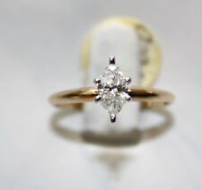 LADIES 14K Y GOLD MARQUISE 0.50ct.DIAMOND ENGAGEMENT RING NEW